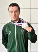 11 August 2014; The Allianz Irish Paralympic Swim team on their return home from the 2014 Paralympic Swimming (IPC) European Championship in Eindhoven, where they won two bronze medals, and recorded six personal best and six season's best times. Pictured is double bronze medalist James Scully, from Ratoath, Co. Meath. 2014 IPC Swimming European Championships Paralympic Swimmers Return from 2014 IPC Swimming European Championships, Dublin Airport, Dublin. Picture credit: Ramsey Cardy / SPORTSFILE