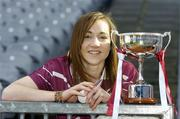 9 October 2006; Galway Minor A Camogie captain Catriona Cormican with the Sighle Nic Anultaigh cup at a photocall ahead of the Minor A Camogie All-Ireland Final on Sunday 15th of October, Nenagh, Co. Tipperary, at 2.30pm against Kilkenny. Croke Park, Dublin. Picture credit: Pat Murphy / SPORTSFILE