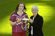 9 October 2006; Galway minor A camogie captain Catriona Cormican holds the Sighle Nic Anultaigh cup with Sile de Bhailis, Ard Stiurthoir, Cumann Camogaiochta na nGael, at a photocall ahead of the Minor A Camogie All-Ireland Final on Sunday 15th of October, Nenagh, Co. Tipperary, at 2.30pm against Kilkenny. Croke Park, Dublin. Picture credit: Pat Murphy / SPORTSFILE