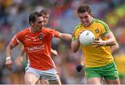 9 August 2014; Patrick McBrearty, Donegal, in action against Andy Mallon, Armagh. GAA Football All-Ireland Senior Championship, Quarter-Final, Donegal v Armagh, Croke Park, Dublin. Picture credit: Stephen McCarthy / SPORTSFILE