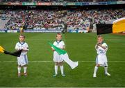 10 August 2014; Etihad flagbearers Evan Campbell, and Fionnan Sweeney, both from Claremorris, Co Mayo, with  Lincoln Walsh, Wexford, at the GAA Hurling All-Ireland Senior Championship, Semi-Final, Kilkenny v Limerick. Croke Park, Dublin. Picture credit: Ray McManus / SPORTSFILE