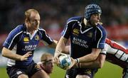 21 October 2006; Jamie Heaslip,  Leinster, supported by team-mate Denis Hickie is tackled by Peter Richards, Gloucester Rugby. Heineken Cup 2006-2007, Pool 2, Round 1, Leinster v Gloucester Rugby, Lansdowne Road, Dublin. Picture credit: Brian Lawless / SPORTSFILE