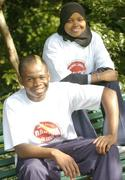 18 October 2006; At a photocall to launch the FAI's Football Against Racism in Europe (FARE) week are Emeka Onwubiko, left, St Kevins Boys and Huda AbdiHaassir Dahir, aged 10, from St.Gabriels NS, Dublin. The FAI encourages all members of the association to make strong efforts to contribute actively to this anti-racism campaign in football. Merrion Square, Dublin. Picture credit: David Maher / SPORTSFILE