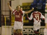27 October 2006; Paul Keegan, left, St. Patrick's Athletic, celebrates after scoring his side's first goal with team-mate's Trevor Molloy, behind and Mark Rutherford. Carlsberg FAI Cup, Semi-Final, St. Patrick's Athletic v Shamrock Rovers, Tolka Park, Dublin. Picture credit: David Maher / SPORTSFILE