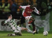 27 October 2006; Mark Rutherford, St. Patrick's Athletic, in action against Eric McGill, Shamrock Rovers. Carlsberg FAI Cup, Semi-Final, St. Patrick's Athletic v Shamrock Rovers, Tolka Park, Dublin. Picture credit: David Maher / SPORTSFILE