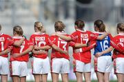 1 October 2006; Cork players stand together before the start of the game. TG4 Ladies All-Ireland Senior Football Championship Final, Cork v Armagh, Croke Park, Dublin. Picture credit: David Maher / SPORTSFILE