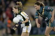 31 October 2006; Bronagh O'Donnell, Ireland, in action against Shelley Matcham, Australia. Ladies International Rules Series 2006, First Test, Ireland v Australia, Kingspan Breffni Park, Cavan. Picture credit: Brian Lawless / SPORTSFILE