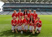 17 August 2014; The Cork team, back row, left to right, Gabriella Ní Dhuglás, Scoil an tSeachtar Laoch, Dublin, Niamh O'Dowd, Kilmovee National School, Mayo, Tara Bermingham Nolan, Drumphea National School, Carlow, Ava Sweeney, Scoil Mhuire, Roscommon, Ciana McGrath, St Columban's Primary School, Fermanagh, front row, left to right, Chloe Carroll, Scoil Mhuire na Trocaire, Cork, Cianna Deegan, Marist National School, Dublin, Aideen O'Riordan, Barryroe National School, Cork, Ciara McTeigue, St Mary's National School, Leitrim,  Lauren O'Keefe, St Dominic's National School, Dublin. INTO/RESPECT Exhibition GoGames, Croke Park, Dublin. Picture credit: Dáire Brennan / SPORTSFILE