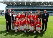 17 August 2014; Chairperson of Cumann na mBunscoil Mairead O'Callaghan, left, President of the I.N.T.O. Seán McMahon, President of the Camogie Association Aileen Lawlor, and Uachtarán Chumann Luthchleas Gael Liam Ó Néill, with the Cork team, back row, left to right, Gabriella Ní Dhuglás, Scoil an tSeachtar Laoch, Dublin, Niamh O'Dowd, Kilmovee National School, Mayo, Tara Bermingham Nolan, Drumphea National School, Carlow, Ava Sweeney, Scoil Mhuire, Roscommon, Ciana McGrath, St Columban's Primary School, Fermanagh, front row, left to right, Chloe Carroll, Scoil Mhuire na Trocaire, Cork, Cianna Deegan, Marist National School, Dublin, Aideen O'Riordan, Barryroe National School, Cork, Ciara McTeigue, St Mary's National School, Leitrim,  Lauren O'Keefe, St Dominic's National School, Dublin. INTO/RESPECT Exhibition GoGames, Croke Park, Dublin. Picture credit: Dáire Brennan / SPORTSFILE