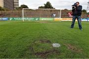 18 August 2014; The area of relaid turf surrounding the penalty spot, which was deemed unplayable by match referee Tom Connolly. SSE Airtricity League Premier Division, Bohemians v Shamrock Rovers, Dalymount Park, Dublin. Picture credit: David Maher / SPORTSFILE