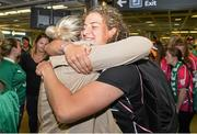 18 August 2014; Ireland's Jenny Murphy is welcomed home by family in Dublin Airport on her return from the Women's Rugby World Cup in France. Dublin Airport, Dublin. Picture credit: Ramsey Cardy / SPORTSFILE