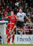 18 August 2014; Brian Gartland, Dundalk, in action against Evan McMillan, Sligo Rovers. SSE Airtricity League Premier Division, Sligo Rovers v Dundalk, The Showgrounds, Sligo. Picture credit: Oliver McVeigh / SPORTSFILE
