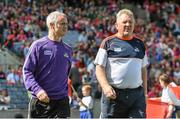 17 August 2014; Cork selectors Seanie McGrath, left, and Johnny Crowley walk onto the pitch ahead of the game. GAA Hurling All-Ireland Senior Championship Semi-Final, Cork v Tipperary. Croke Park, Dublin. Picture credit: Brendan Moran / SPORTSFILE