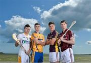 19 August 2014; U-21 stars Tony Kelly, Clare, Stephen McAfee, Antrim, Cathal Mannion, Galway, and Conor McDonald, Wexford, met today in Clanna Gael GAA Club ahead of the Bord Gáis Energy GAA Hurling U-21 All-Ireland Semi Final which take place this Saturday 23rd August in Semple Stadium, Thurles. Clare take on Ulster winners Antrim at 4pm while Galway face Leinster kingpins Wexford at 6pm. Both games will be shown live on TG4 and spectators can vote for their player of the match by using hBGE. Pictured are, from left, Antrim's Stephen McAfee, Clare's Tony Kelly, Wexford's Conor McDonald and Galway's Cathal Mannion. Bord Gáis Energy GAA Hurling All-Ireland U21 Championship Semi-Final Photocall, Clanna Gael Fontenoy GAA Club, Ringsend, Dublin. Picture credit: Ramsey Cardy / SPORTSFILE