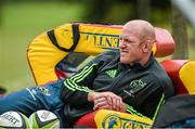 19 August 2014; Munster's Paul O'Connell sits out squad training ahead of their pre-season game against Gloucester on Saturday. Munster Rugby Squad Pre-Season Training, Cork Institute of Technology, Cork. Picture credit: Diarmuid Greene / SPORTSFILE