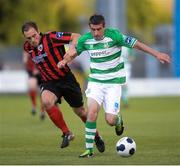 22 August 2014; Robert Bayly, Shamrock Rovers, in action against Stephen Rice, Longford Town. FAI Ford Cup, 3rd Round, Longford Town, Tallaght Stadium, Tallaght, Co. Dublin. Picture credit: Ray Lohan / SPORTSFILE