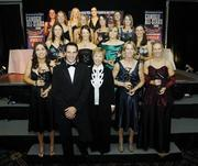 11 November 2006; At the 2006 Camogie All-Star Awards were, back row, from left, Imelda Kennedy, Kilkenny, Joanne Ryan, Tipperary, Louise O'Hara, Dublin, Jennifer O'Leary, Cork, 2nd row from back, from left, Rena Buckley, Cork, Veronica Curtin, Galway, Regina Glynn, Galway and Briege Corkery, Cork, 2nd row from front, from left, Gemma O'Connor, Cork, Kate Kelly, Wexford, Anna Geary, Cork and Suzanna Kelly, Tipperary, with front, from left, Philly Fogarty, Tipperary, Guest of Honour and Sydney Swans footballer Tadhg Kennelly, Liz Howard, President, Cumann Camogaiochta na nGael, Mary O'Connor, Cork and Jovita Delaney, Tipperary. Citywest Hotel, Dublin. Picture credit: Brendan Moran / SPORTSFILE