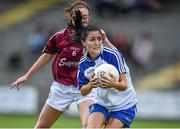 23 August 2014; Therese McNally-Scott, Monaghan, in action against Emer Flaherty, Galway. TG4 All-Ireland Ladies Football Senior Championship, Quarter-Final, Galway v Monaghan, St Brendan's Park, Birr, Co. Offaly. Picture credit: Brendan Moran / SPORTSFILE