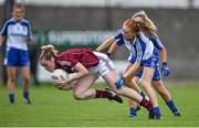 23 August 2014; Caitríona Cormican, Galway, in action against Grainne McNally, Monaghan. TG4 All-Ireland Ladies Football Senior Championship, Quarter-Final, Galway v Monaghan, St Brendan's Park, Birr, Co. Offaly. Picture credit: Brendan Moran / SPORTSFILE