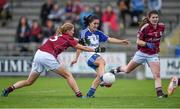23 August 2014; Therese McNally-Scott, Monaghan, in action against Mairéad Coyne, left, and Orla Dixon, Galway. TG4 All-Ireland Ladies Football Senior Championship, Quarter-Final, Galway v Monaghan, St Brendan's Park, Birr, Co. Offaly. Picture credit: Brendan Moran / SPORTSFILE
