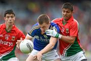 24 August 2014; Andrew Barry, Kerry, in action against Sharoize Akram, Mayo. Electric Ireland GAA Football All-Ireland Minor Championship, Semi-Final, Kerry v Mayo, Croke Park, Dublin. Picture credit: Stephen McCarthy / SPORTSFILE