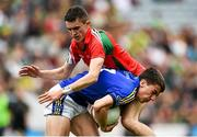 24 August 2014; Brian Ó Beaglaoích, Kerry, in action against Cian Hanley, Mayo. Electric Ireland GAA Football All-Ireland Minor Championship, Semi-Final, Kerry v Mayo, Croke Park, Dublin. Picture credit: Stephen McCarthy / SPORTSFILE