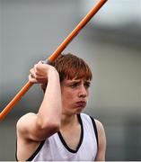 24 August 2014; Stuart Farry, Skreen Dromard, Co.Sligo, during the Boys Under 14 Javelin. HSE Community Games August Festival 2014, Athlone Institute of Technology, Athlone, Co. Westmeath.  Picture credit: David Maher / SPORTSFILE