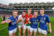 24 August 2014; Kerry players, from left, Sean Ryan, Liam Kearney, Robert Wharton, Stephen O'Sullivan and Jordan Kelly celebrate their victory. Electric Ireland GAA Football All-Ireland Minor Championship, Semi-Final, Kerry v Mayo, Croke Park, Dublin. Picture credit: Stephen McCarthy / SPORTSFILE