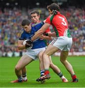 24 August 2014; Paul Geaney, Kerry, in action against Jason Doherty, left, and Ger Cafferkey, Mayo. GAA Football All-Ireland Senior Championship, Semi-Final, Kerry v Mayo, Croke Park, Dublin. Picture credit: Ray McManus / SPORTSFILE
