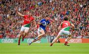 24 August 2014; Anthony Maher, Kerry, in action against Séamus O'Shea and Ger Cafferkey, Mayo. GAA Football All-Ireland Senior Championship, Semi-Final, Kerry v Mayo, Croke Park, Dublin. Picture credit: Ray McManus / SPORTSFILE