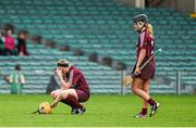 24 August 2014; Sarah Dervan, left, and Lorraine Ryan, Galway, react after defeat to Kilkenny. Liberty Insurance All-Ireland Senior Camogie Championship Semi-Final, Galway v Kilkenny. Gaelic Grounds, Limerick. Picture credit: Diarmuid Greene / SPORTSFILE