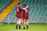24 August 2014; Galway's Brenda Hanney, left, puts her arm around team-mate Niamh McGrath, after defeat to Kilkenny. Liberty Insurance All-Ireland Senior Camogie Championship Semi-Final, Galway v Kilkenny. Gaelic Grounds, Limerick. Picture credit: Diarmuid Greene / SPORTSFILE