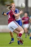 23 August 2014; Caitriona Cormican, Galway, in action against Grainne McNally, Monaghan. TG4 All-Ireland Ladies Football Senior Championship, Quarter-Final, Galway v Monaghan, St Brendan's Park, Birr, Co. Offaly. Picture credit: Brendan Moran / SPORTSFILE