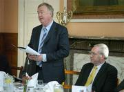 20 November 2006; John O'Donoghue, T.D., Minister for Arts, Sport and Tourism, following consultation with his colleague Mary Coughlan, T.D., Minister for Agriculture and Food, today (20 November 2006) announced the establishment of a new Agency – Horse Sport Ireland – which will be responsible for devising and implementing strategies for the development and promotion of an internationally competitive Irish sport horse industry (breeding, sport and leisure sides). He has designated Joe Walsh, T.D., as the Chairman of the new Agency. Pictured speaking at the launch is John O'Donoghue, TD, Minister for Arts, Sport and Tourism, in the company of Joe Walsh, TD, Chairman of Horse Sport Ireland. McKee Barracks, Blackhorse Ave, Dublin. Picture credit: Brendan Moran / SPORTSFILE