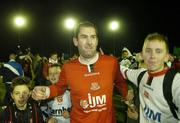 25 November 2006; Dundalk goalsscorer Trevor Vaughan is congratulated by fans after the final whistle. eircom League Premier Division / First Division Playoff 2nd Leg, Waterford United v Dundalk, RSC, Waterford. Picture credit: Matt Browne / SPORTSFILE