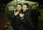 25 November 2006; Dundalk manager John Gill, left, is congratulated by Colm O'Neill after the final whistle. eircom League Premier Division / First Division Playoff 2nd Leg, Waterford United v Dundalk, RSC, Waterford. Picture credit: Matt Browne / SPORTSFILE