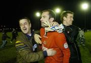 25 November 2006; Dundalk goal scorer Trevor Vaughan is congratulated by fans after the final whistle. eircom League Premier Division / First Division Playoff 2nd Leg, Waterford United v Dundalk, RSC, Waterford. Picture credit: Matt Browne / SPORTSFILE