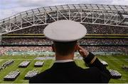 1 September 2012; A member of the Naval Academy during the National Anthems. NCAA Emerald Isle Classic, Notre Dame v Navy, Aviva Stadium, Lansdowne Road, Dublin. Picture credit: Stephen McCarthy / SPORTSFILE