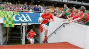 24 August 2014; Mayo captain Cian Hanley leads his side out onto the pitch ahead of the game. Electric Ireland GAA Football All Ireland Minor Championship, Semi-Final, Kerry v Mayo, Croke Park, Dublin. Picture credit: Brendan Moran / SPORTSFILE