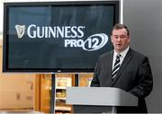 26 August 2014; John Feehan, Chief Executive, Guinness PRO12 speaking at the Guinness PRO12 Season Launch, Diageo Head Office, Park Royal, London. Picture credit: Matt Impey / SPORTSFILE