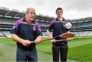 26 August 2014; Former Kilkenny player Martin Comerford, right, and former Tipperary player John Leahy, at the launch of the 2014 One Direct Kilmacud Crokes All-Ireland Hurling Sevens, Croke Park, Dublin. Picture credit: David Maher / SPORTSFILE
