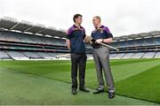 26 August 2014; Former Kilkenny player Martin Comerford, left, and former Tipperary player Richie Stakelum, at the launch of the 2014 One Direct Kilmacud Crokes All-Ireland Hurling Sevens, Croke Park, Dublin. Picture credit: David Maher / SPORTSFILE
