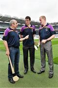 26 August 2014; Former Tipperary players John Leahy, left, and Richie Stakelum, right, with former Kilkenny player Martin Comerford, at the launch of the 2014 One Direct Kilmacud Crokes All-Ireland Hurling Sevens, Croke Park, Dublin. Picture credit: David Maher / SPORTSFILE