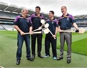 26 August 2014; Former Tipperary players John Leahy, left, and Richie Stakelum, far right, with former Kilkenny player Martin Comerford, second from left, and current Dublin Kilmacud Crokes player Niall Corcoran, at the launch of the 2014 One Direct Kilmacud Crokes All-Ireland Hurling Sevens, Croke Park, Dublin. Picture credit: David Maher / SPORTSFILE