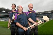 26 August 2014; Former Tipperary players John Leahy, centre, and Richie Stakelum, right, with former Kilkenny player Martin Comerford, at the launch of the 2014 One Direct Kilmacud Crokes All-Ireland Hurling Sevens, Croke Park, Dublin. Picture credit: David Maher / SPORTSFILE