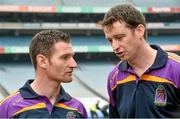 26 August 2014;  Former Kilkenny player Martin Comerford, right, with Dublin and Kilmacud Crokes player Niall Corcoran, at the launch of the 2014 One Direct Kilmacud Crokes All-Ireland Hurling Sevens, Croke Park, Dublin. Picture credit: David Maher / SPORTSFILE