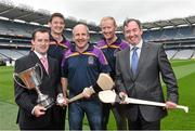 26 August 2014; Former Tipperary  players John Leahy, centre, and Richie Stakelum and second from right, with former Kilkenny player Martin Comerford, second from left with Peter Walsh, left, Chairman of Kilmacud Crokes Hurling Committee, and David Egan, far right, Managing Director of One Direct, at the launch of the 2014 One Direct Kilmacud Crokes All-Ireland Hurling Sevens, Croke Park, Dublin. Picture credit: David Maher / SPORTSFILE
