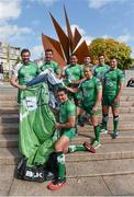28 August 2014; Pictured in Eyre Square, Galway, are Connacht Rugby players, from left to right, Andrew Browne, Mick Kearney, Mils Muliaina, front, Rodney Ah You, Fionn Carr, Denis Buckley, Dave McSharry and Robbie Henshaw. As a 100% Irish owned and operated retailer, Life Style Sports today proudly announced its title sponsorship of Connacht Rugby and showcased the new Life Style Sports branded Connacht Rugby jersey. Eyre Square, Galway City. Picture credit: Diarmuid Greene / SPORTSFILE