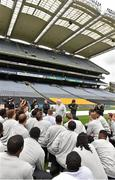 29 August 2014; UCF head coach George O'Leary speaks to his players during the previews ahead of the Croke Park Classic, Penn State v University of Central Florida on Saturday. Croke Park, Dublin. Picture credit: Pat Murphy / SPORTSFILE