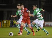 29 August 2014; Sean Maguire, Sligo Rovers, in action against Jason McGuinness, left, and Robert Bayly, Shamrock Rovers. SSE Airtricity League Premier Division, Shamrock Rovers v Sligo Rovers, Tallaght Stadium, Tallaght, Dublin. Picture credit: Dáire Brennan / SPORTSFILE